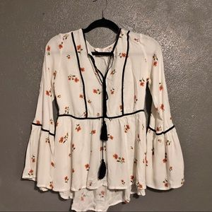 {Lauren Conrad} bell sleeve top with floral print!